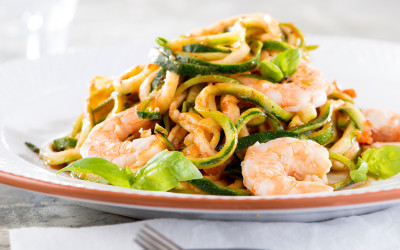 Prawn Chill and Tomato Zucchini Pasta