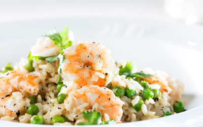 Lemony Prawn and Pea Cheats Risotto