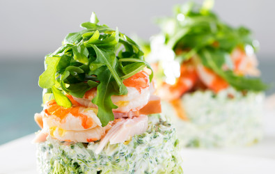 Prawn and Smoked Chicken Broccoli Stack