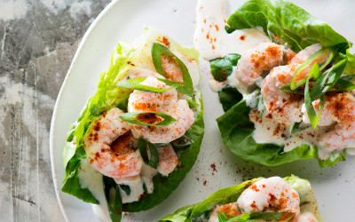 Prawn Cocktail Creamy Lemon Lettuce Cups